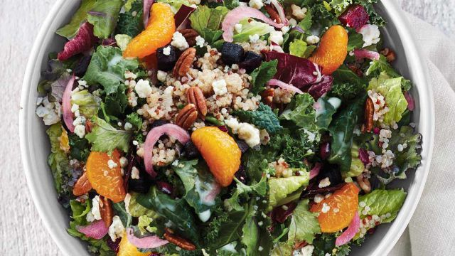 crunchy baby kale,citrus and nuts salad